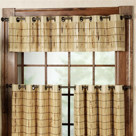 bamboo tier curtains bamboo grommet window valance