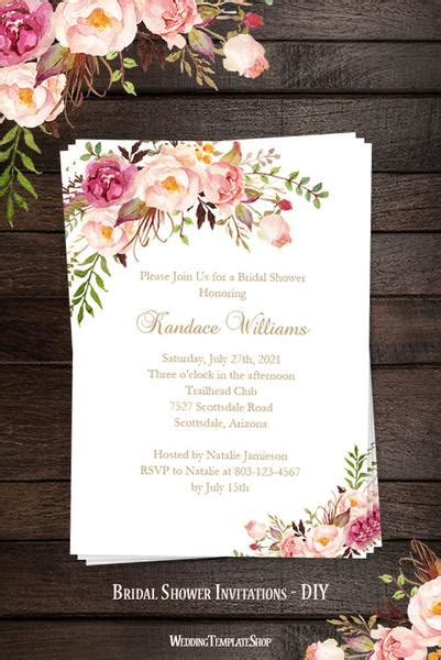 Bridal Shower Invitation Template Romantic Blossoms Printable Diy Wedding Template Shop Wedding Shower Menu Template