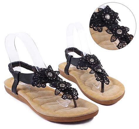 black summer rhinestones lace flowers womens sandals dress