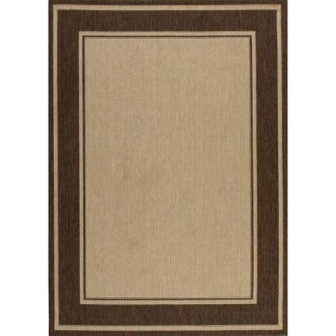 indoor outdoor area rugs home depot hton bay brown border 7 ft 7 in x 10 ft 10 in indoor outdoor area rug 3108 53 65 the