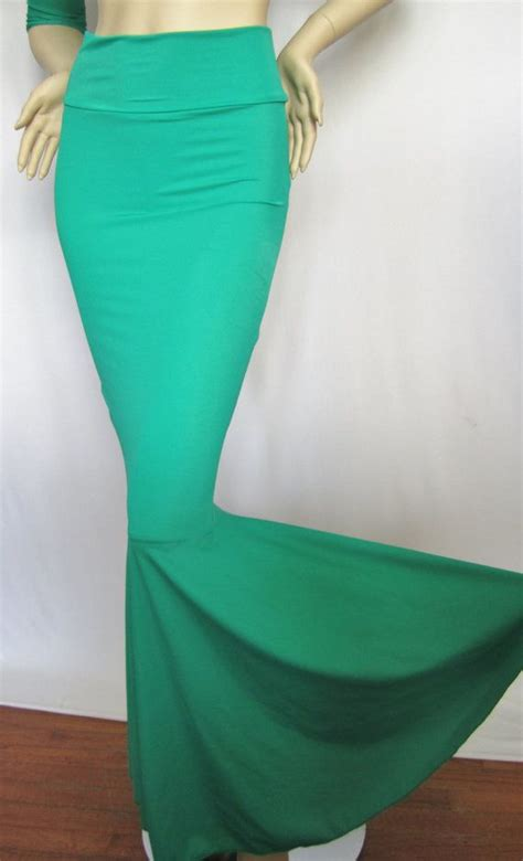 high waist mermaid skirt fish teal green stretch