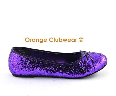 womens purple flat shoes pleaser 16g s purple glitter flats shoes ebay