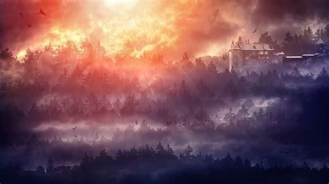 wallpaper castle dark hd  creative graphics