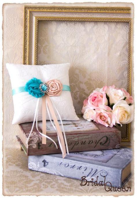 aqua and blush ring bearer pillow aqua wedding ring