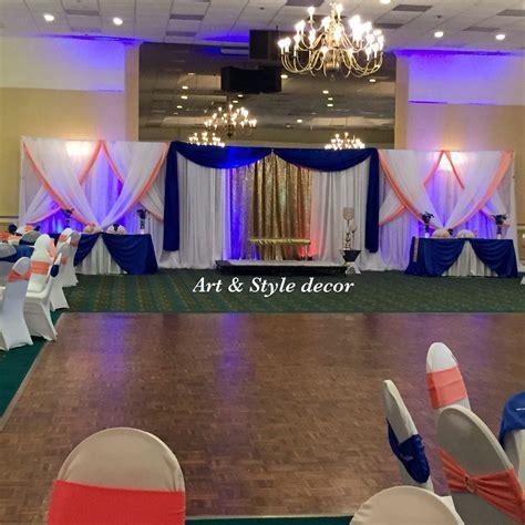 Royal Blue and Coral wedding decor. #artandstyledecor