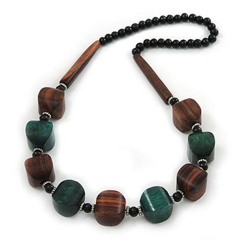 chunky wooden bead necklace chunky brown green wooden bead necklace 76cm length