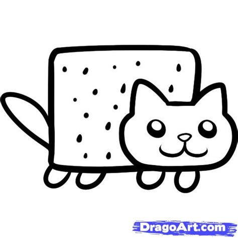 how to draw pop tart cat nyan cat step by step