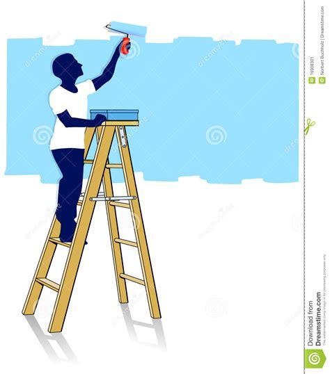 house painter painting www pixshark com images painter on ladder stock vector illustration of
