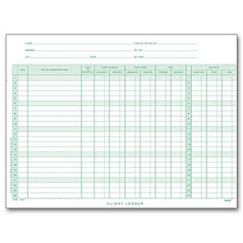 client ledger template client deckled ledger