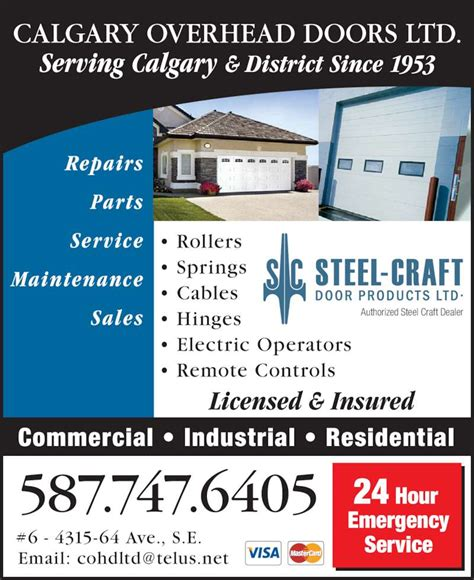 Calgary Overhead Door Ltd Opening Hours 6 4315 64 Ave Calgary Overhead Door Ltd