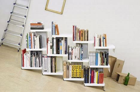 no book ends modular leaning bookcase room divider