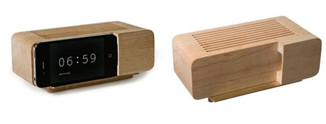 wooden dock turns iphone into retro tastic alarm clock wired