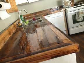 Wooden Kitchen Countertops Diy Countertops Wood Rustic Kitchen Cabinets