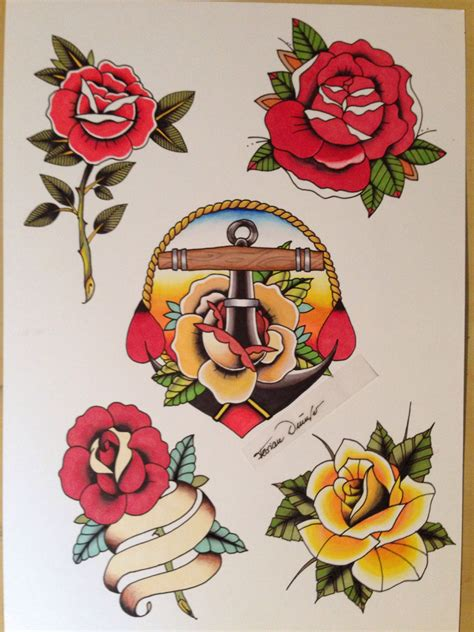 traditional style rose tattoos sheet traditional flash anchor