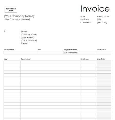 copy of a blank invoice ricdesign