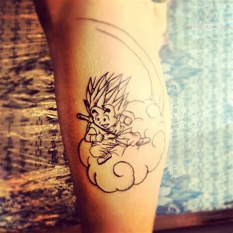 goku riding the cloud tattoo goku on cloud on leg