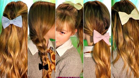 hairstyles that r short n back long n frontand sides 6 cute easy quick heatless hairstyles using bows youtube