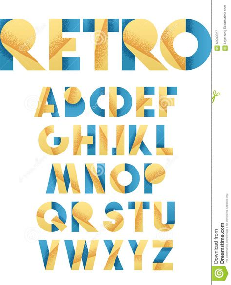yellow design font retro font in blue and yellow beige alphabet realistic