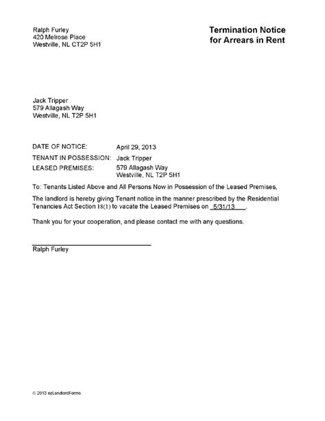 Tenancy Confirmation Letter From Landlord printable sle notice to vacate template form real estate forms template and