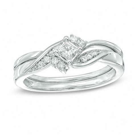 1 4 ct t w princess cut bridal set in 10k white