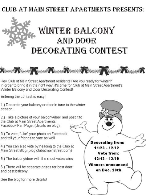 Decorating Rules New Contest Alert Winter Decorating Contest The Club
