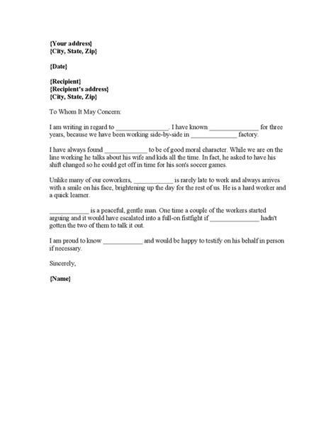 Best Character Reference Letter For Court Character Reference Letter For Court Template Best Business Template