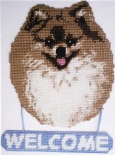 pomeranian enlarged everything plastic canvas pomeranian welcome sign