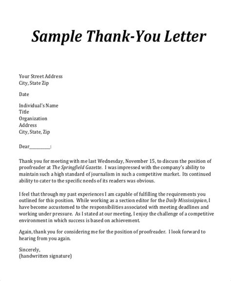 thank you letter sle pdf thank you letter to for meeting 28 images business