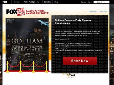 Fox 5 Sweepstakes - fox gotham premiere party flyaway sweepstakes