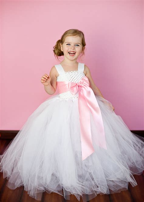 Dress Tutu Girly white and pink flower tutu dresses