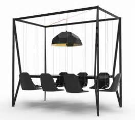 Hanging Dining Table Go The Bar Dining Table With Swings For Chairs Geekologie