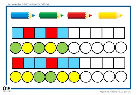 color pattern worksheets for kindergarten repeating patterns with 2 colours 4 worksheet activities pupils continue the patterns using