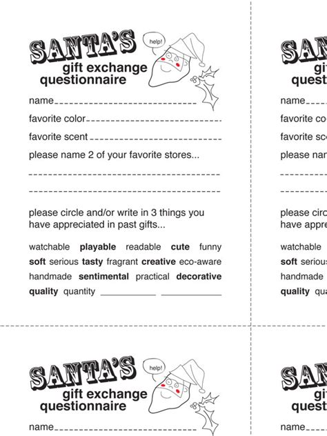 printable secret santa questionnaire templates 15 best photos of secret santa gift questionnaire secret