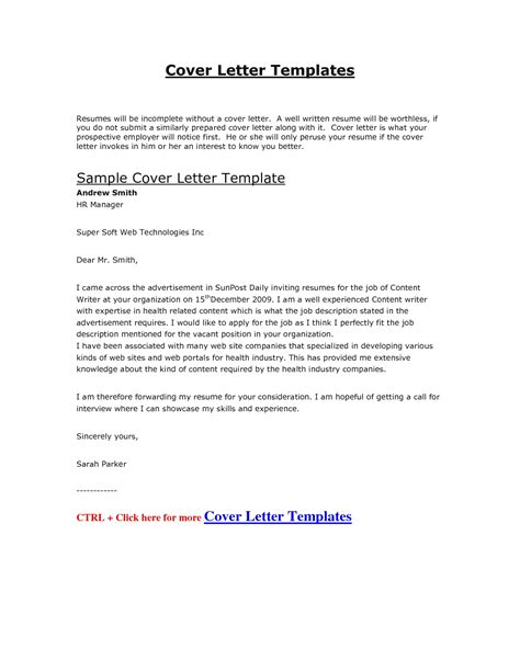 Cover Letter Format For Doc Cover Letter Exle Doc The Best Letter Sle