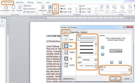 membuat border atau bingkai halaman di word 2010 membuat border bingkai halaman paragraf dan teks di word