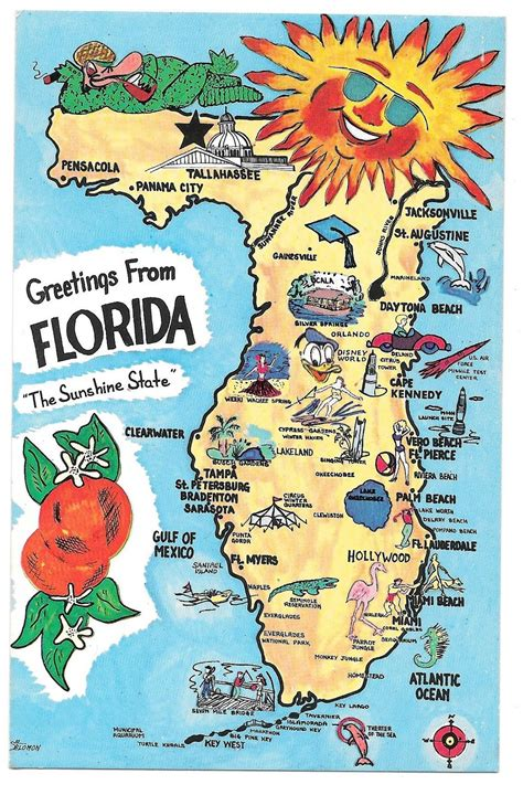 Florida Simple Search Florida Map Landmarks Cities Fl Vintage And 50 Similar Items