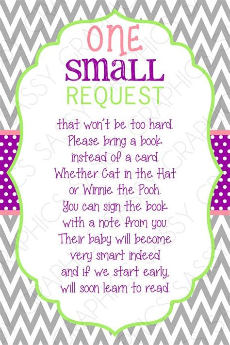 bring a book instead of a card babyshower free template bring a book card instead of a card one small request