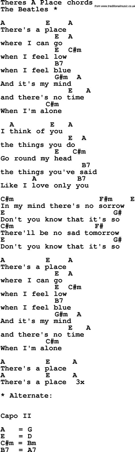 A Place Chords Song Lyrics With Guitar Chords For There S A Place The Beatles