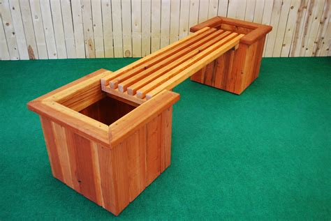 pl box planter and bench the redwood store