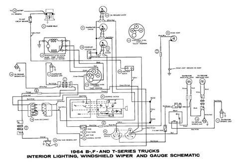 ford b f t series trucks 1964 interior lighting windshield wiper and wiring diagram