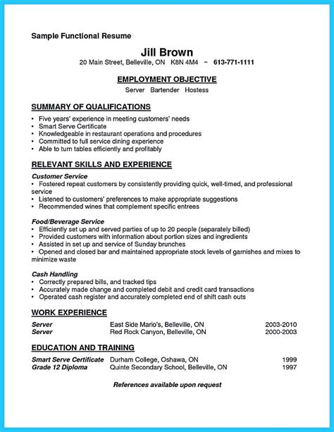 server bartender resume exle outstanding details you must put in your awesome