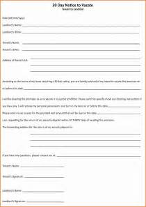 30 Day Notice To Tenant Template by 6 Landlord To Tenant 30 Day Notice To Vacate Letter