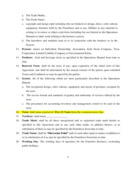 free franchise agreement template franchise agreement sle template free