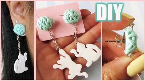 how to make jewelry out of clay diy cat yarn dangling earrings collab w nerdecrafter