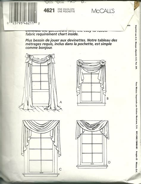 mccalls curtain patterns mccall s pattern 4621 curtain swag valance room decor new