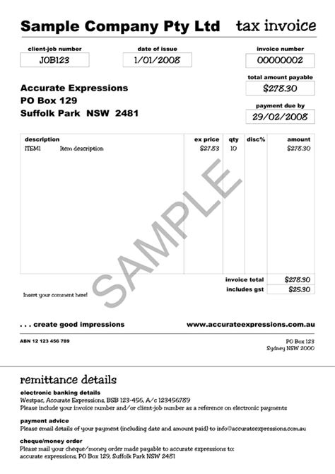 free tax invoice template australia tax invoice template australia invoice exle