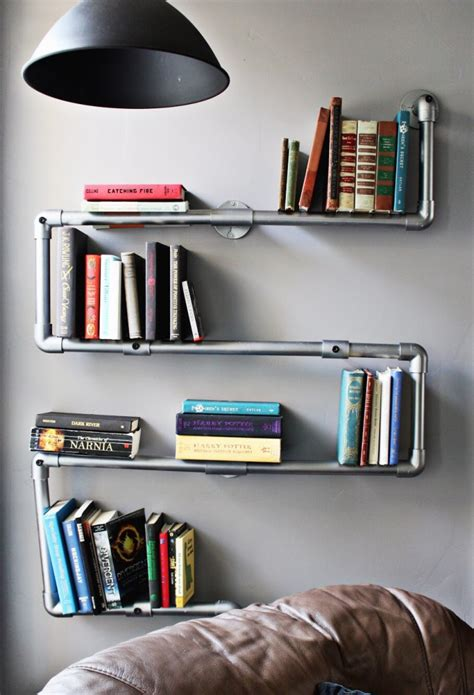 faux galvanized pipe bookshelf a joyful riot