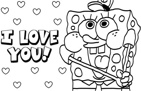 printable coloring pages i you spongebob squarepants coloring pages i you coloringstar