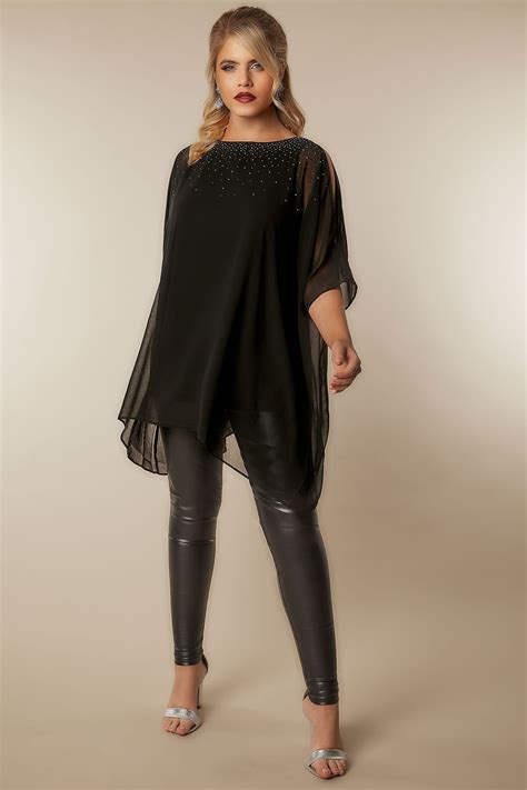 Inner Cape Blouse by Black Cold Shoulder Chiffon Cape Blouse With Diamante