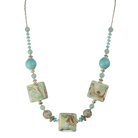 murano glass bead necklace aqua squares marbled with aventurina murano glass bead